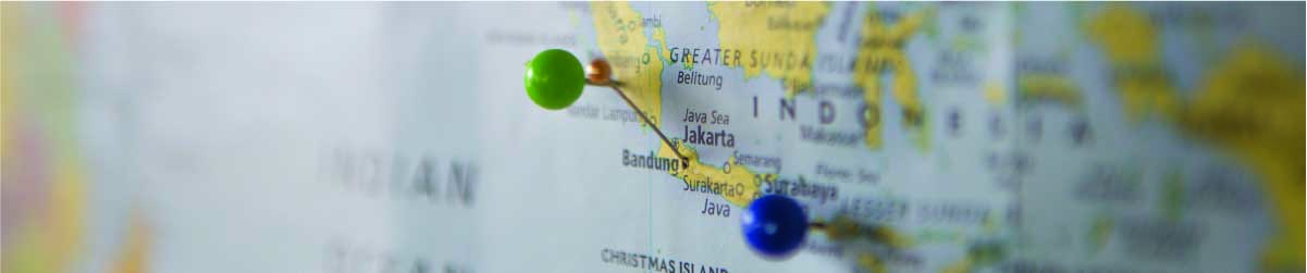 map with destination pins on it