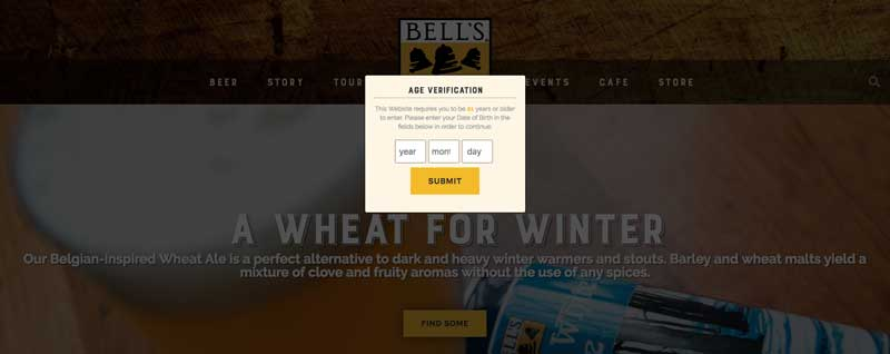 Age verification pop up at Bell's Brewery