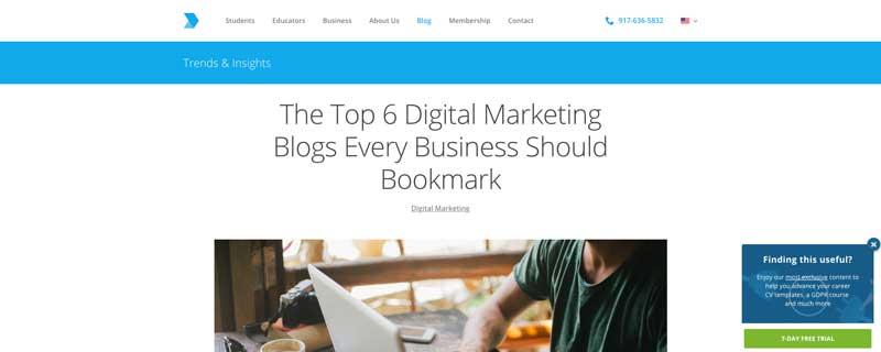 Digital Marketing Institute CTA example