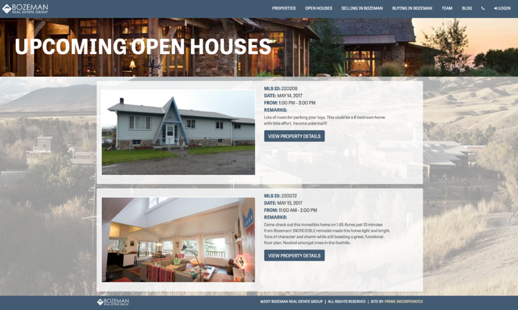 real estate open house website design