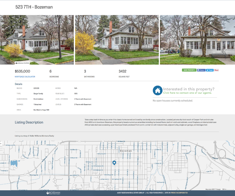 real estate property website interface design