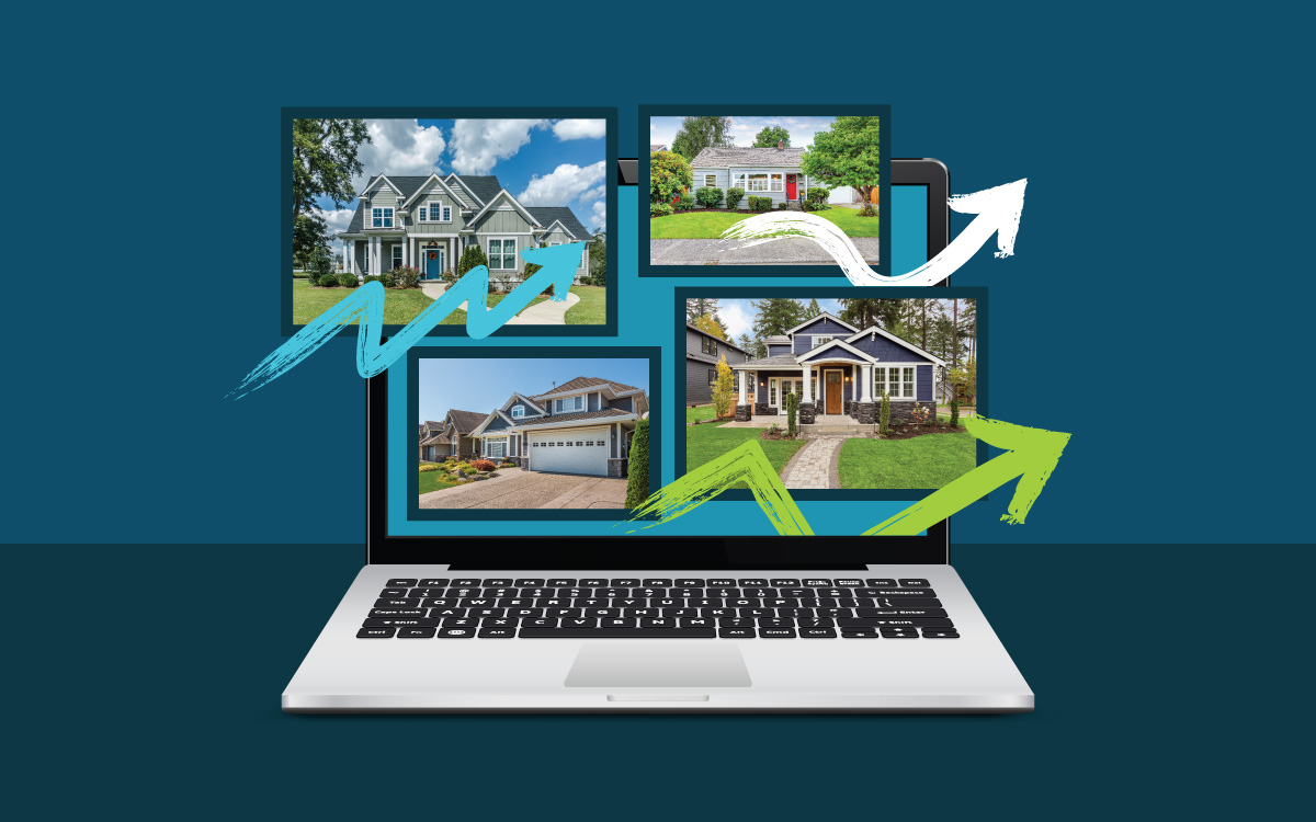 laptop with real estate listings shown