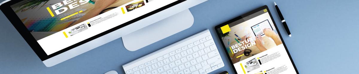 a website on a tablet and desktop