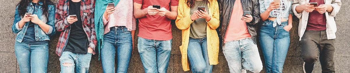 people using their smartphones